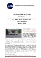 0 – PRESS RELEASE No 2015 08 3009 2015 JARUS 2nd PM Beijing 7 to 11 Sep 2015