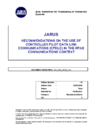 160602 – JARUS – Recommendations on the Use of Controller Pilot Data Link Communications in the RPAS Communications Context